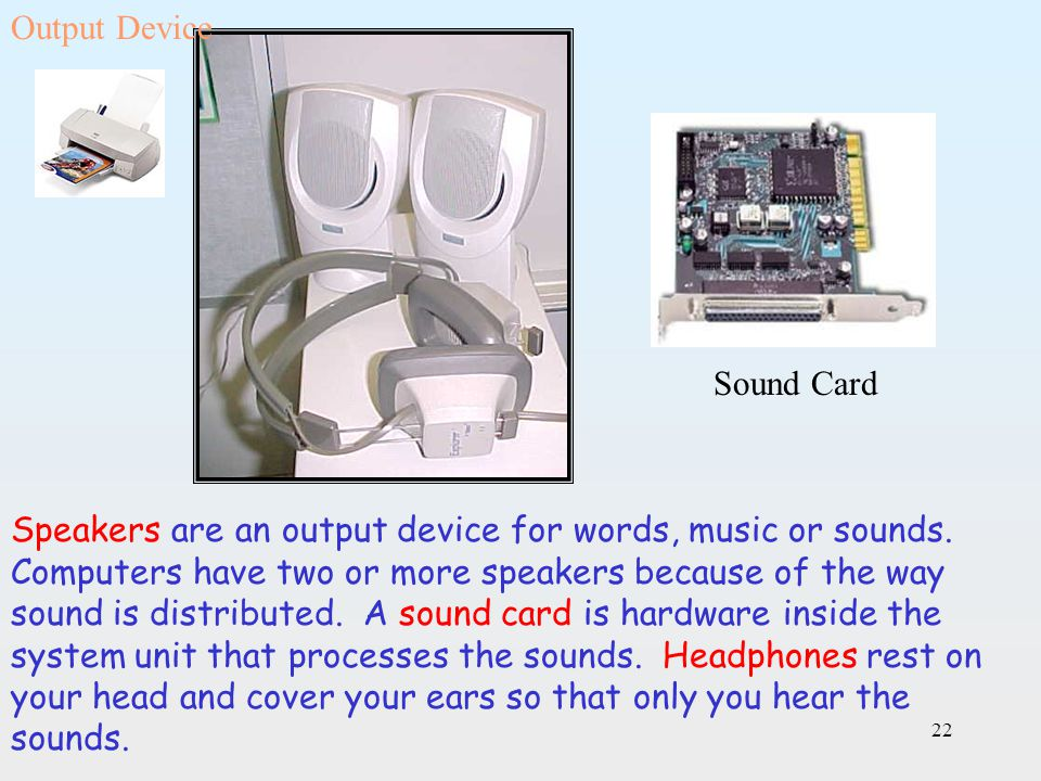 Output Device Sound Card.