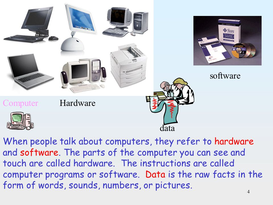 software Computer. Hardware. data.