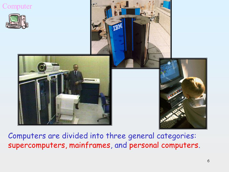 Computer Computers are divided into three general categories: supercomputers, mainframes, and personal computers.