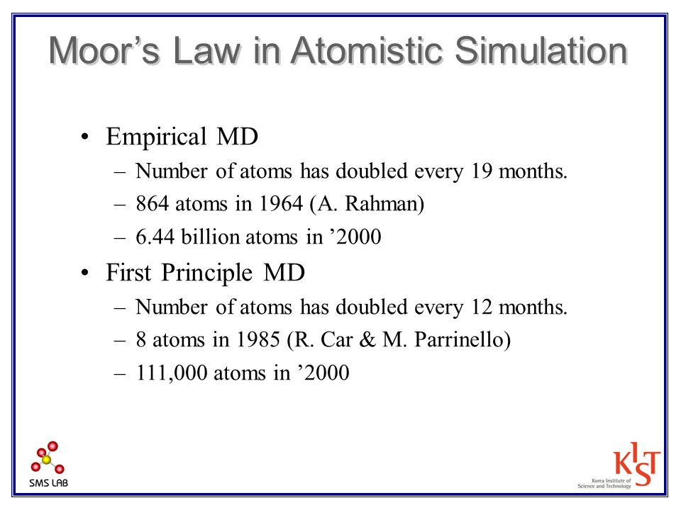 Moor's Law in Atomistic Simulation