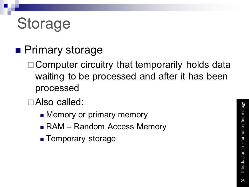 Storage Primary storage