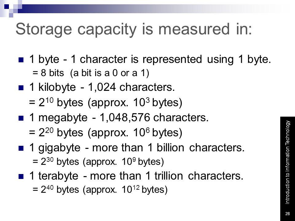 Storage capacity is measured in: