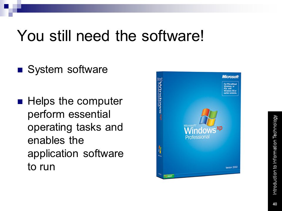 You still need the software!