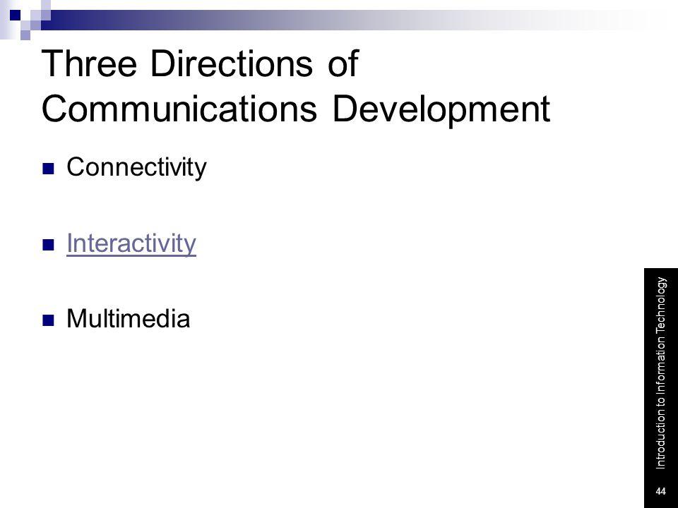 Three Directions of Communications Development