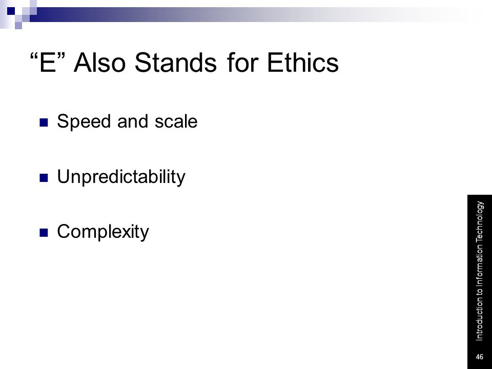 E Also Stands for Ethics