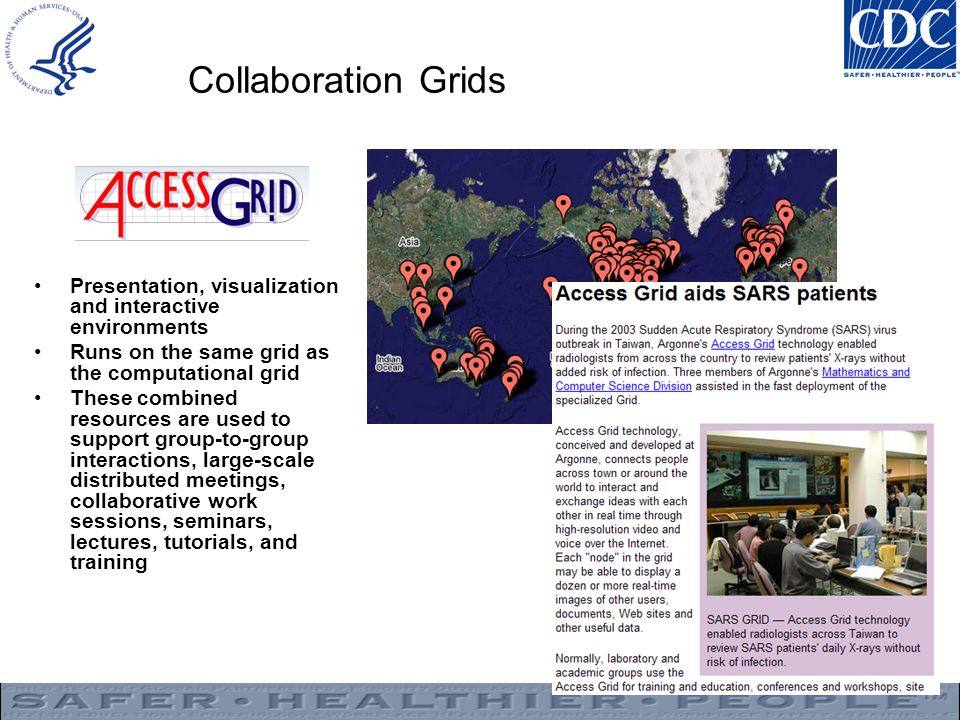 Collaboration Grids Presentation, visualization and interactive environments. Runs on the same grid as the computational grid.