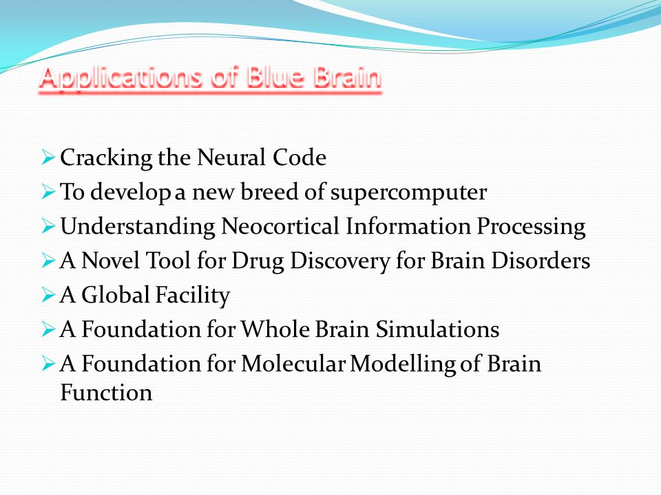 Applications of Blue Brain