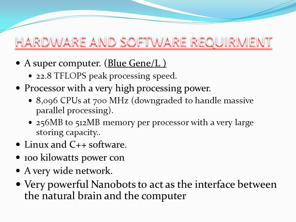 HARDWARE AND SOFTWARE REQUIRMENT