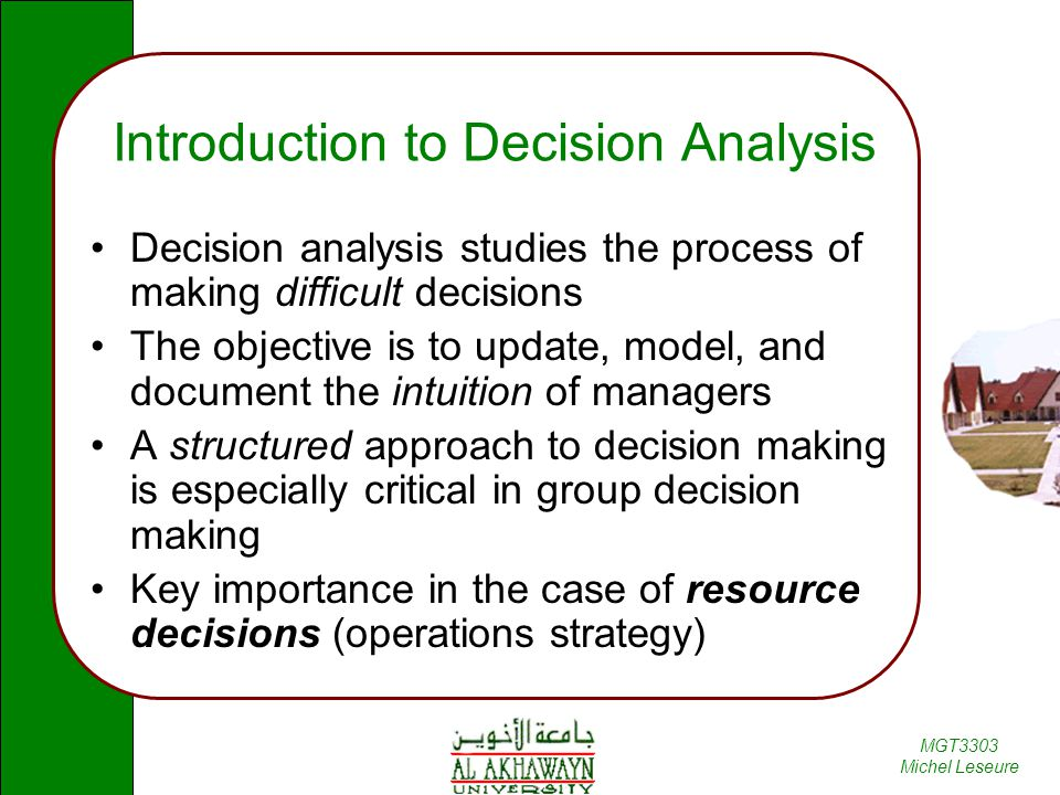 an introduction to the decision making model A framework for making ethical decisions this document is designed as an introduction to making ethical and then presents a framework for decision-making 1.