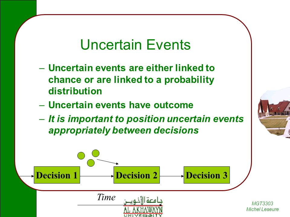 Uncertain Events Uncertain events are either linked to chance or are linked to a probability distribution.
