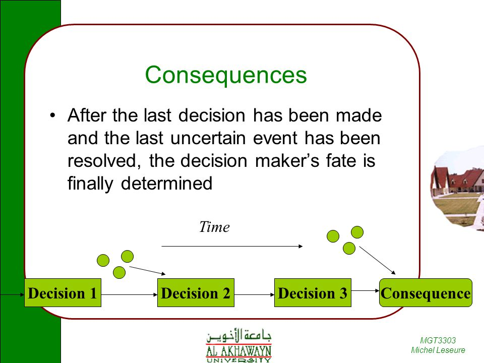 Consequences After the last decision has been made and the last uncertain event has been resolved, the decision maker's fate is finally determined.