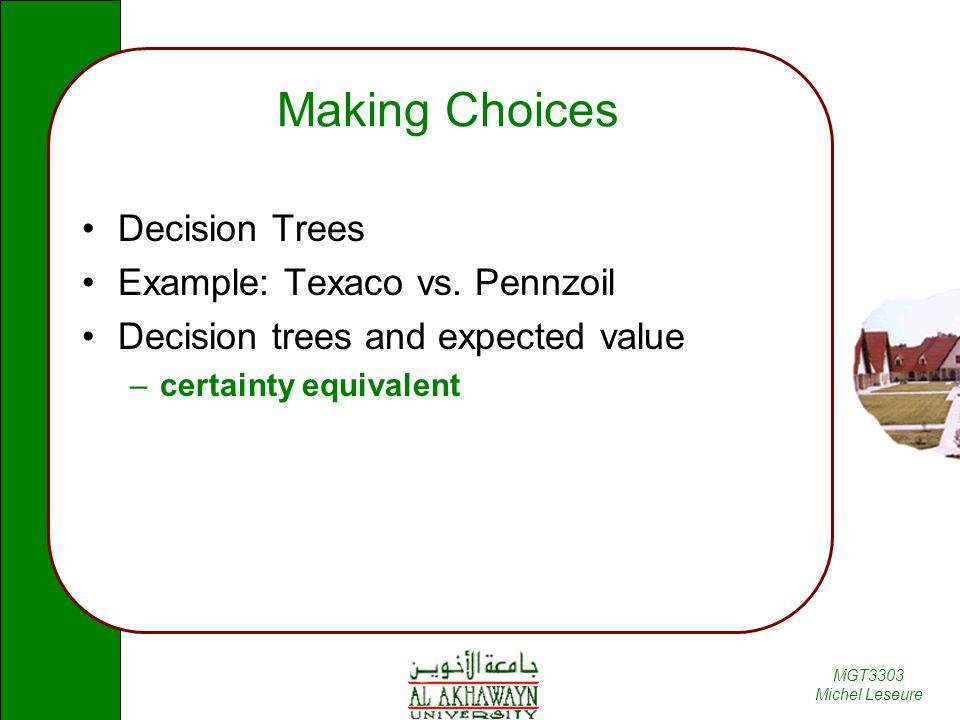 Making Choices Decision Trees Example: Texaco vs. Pennzoil