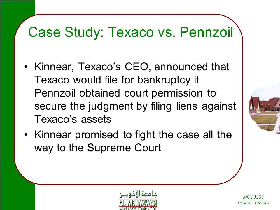 Case Study: Texaco vs. Pennzoil