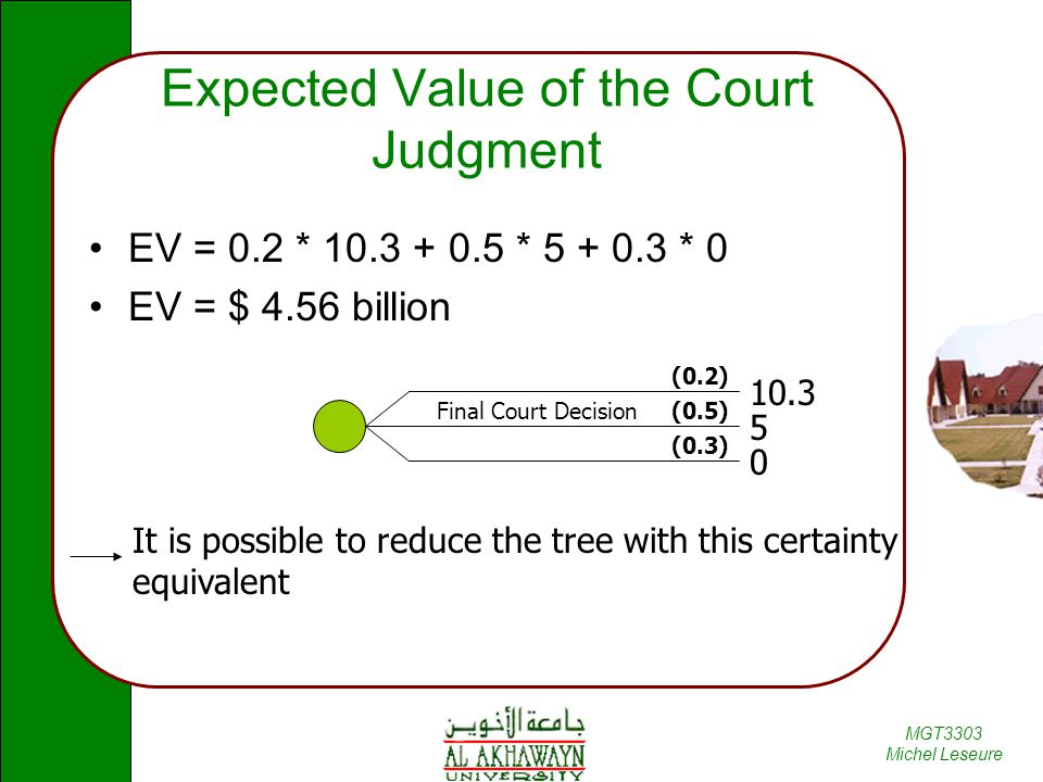 Expected Value of the Court Judgment