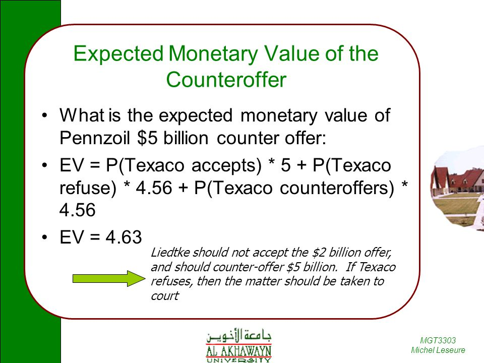 Expected Monetary Value of the Counteroffer