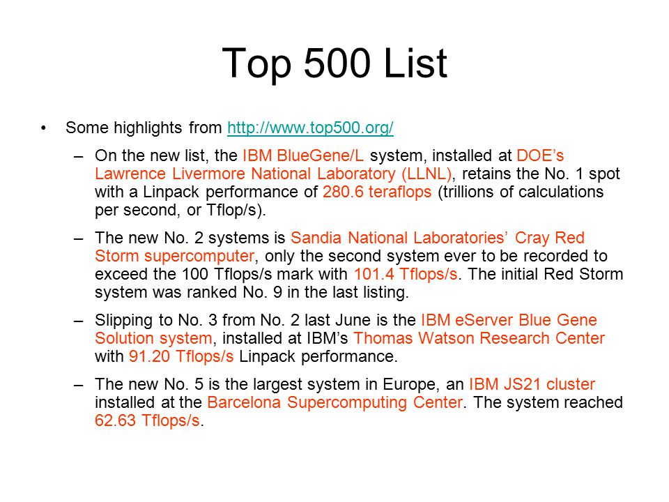 Top 500 List Some highlights from