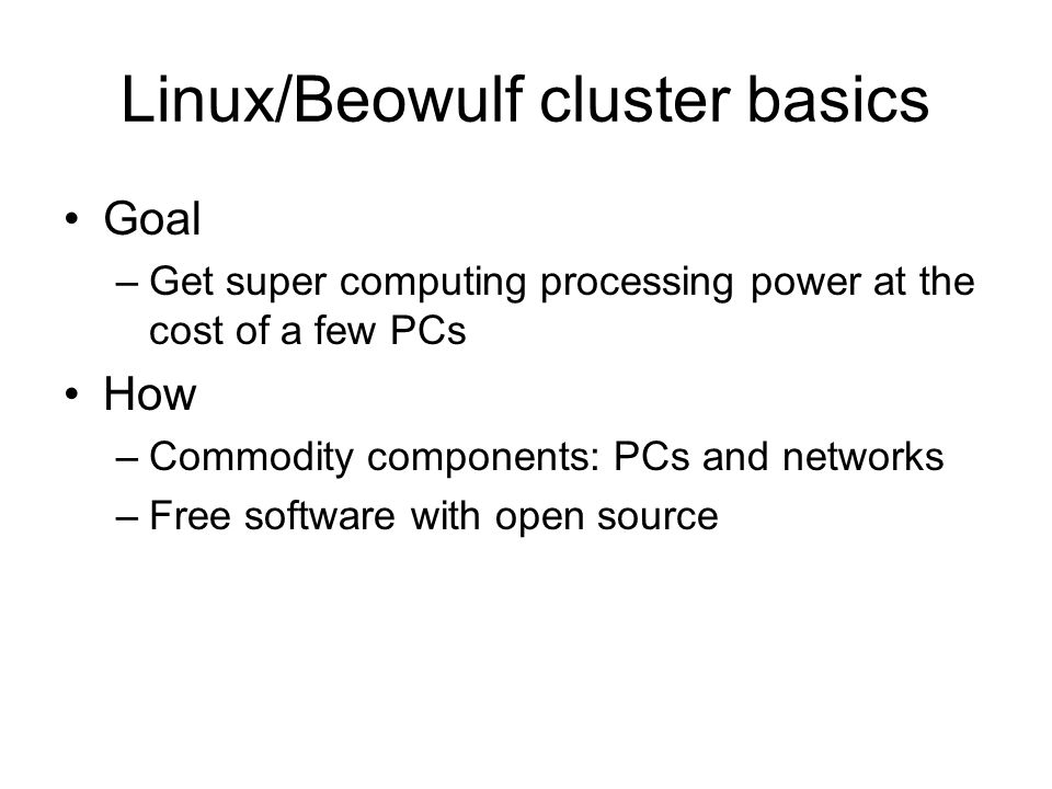 Linux/Beowulf cluster basics