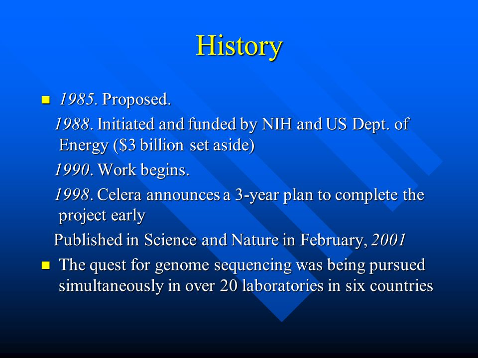 History 1985. Proposed. 1988. Initiated and funded by NIH and US Dept. of Energy ($3 billion set aside)