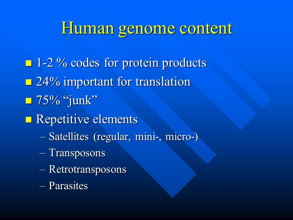 Human genome content 1-2 % codes for protein products