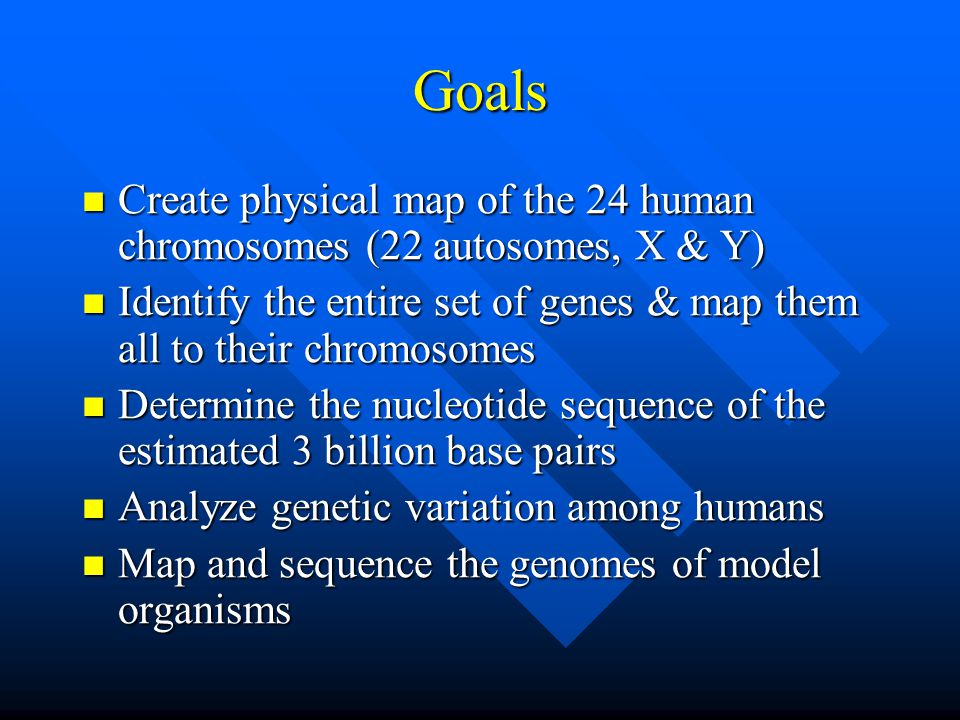 Goals Create physical map of the 24 human chromosomes (22 autosomes, X & Y) Identify the entire set of genes & map them all to their chromosomes.