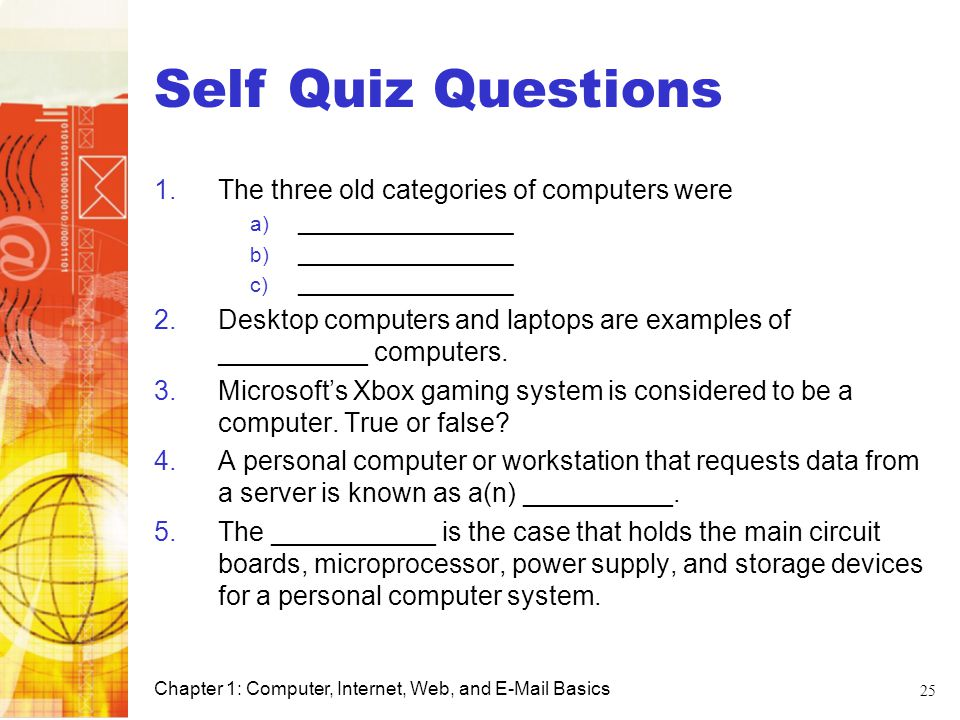 Self Quiz Questions Computer Basics
