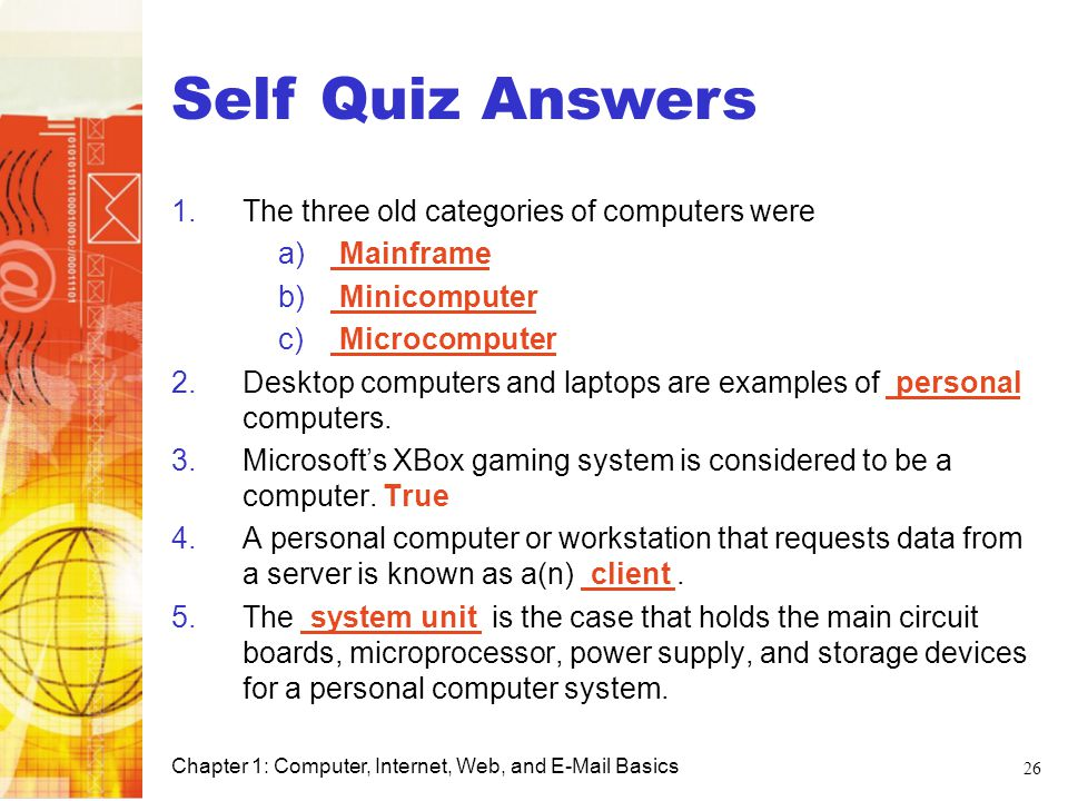 Self Quiz Answers Computer Basics
