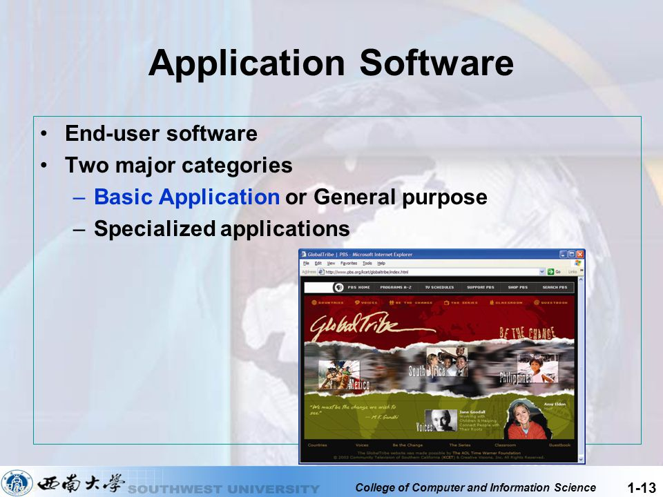 Application Software End-user software Two major categories