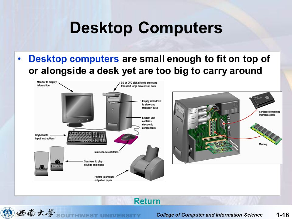 Desktop Computers Desktop computers are small enough to fit on top of or alongside a desk yet are too big to carry around.