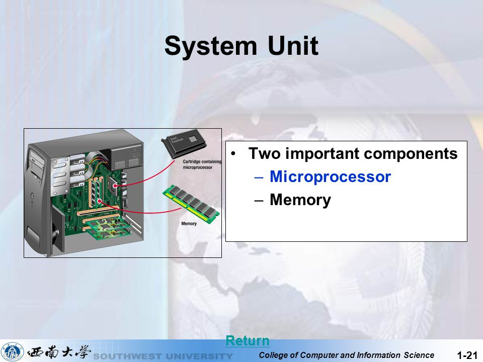 System Unit Two important components Microprocessor Memory Return