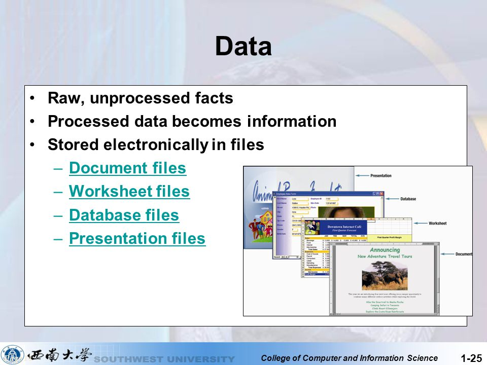 Data Raw, unprocessed facts Processed data becomes information