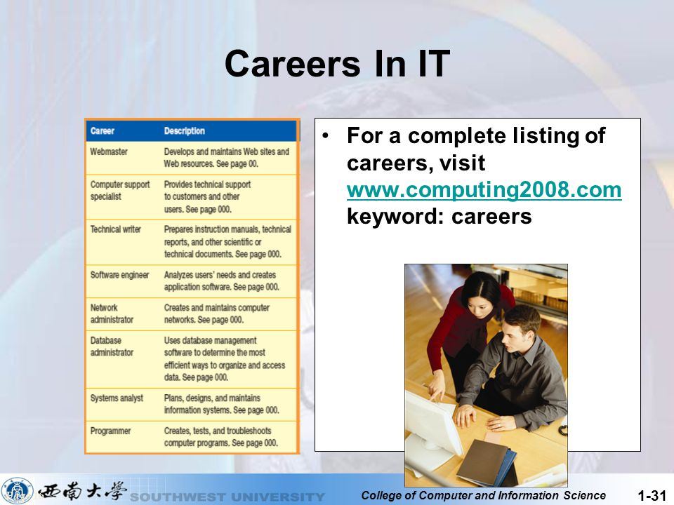 Careers In IT For a complete listing of careers, visit www.computing2008.com keyword: careers.