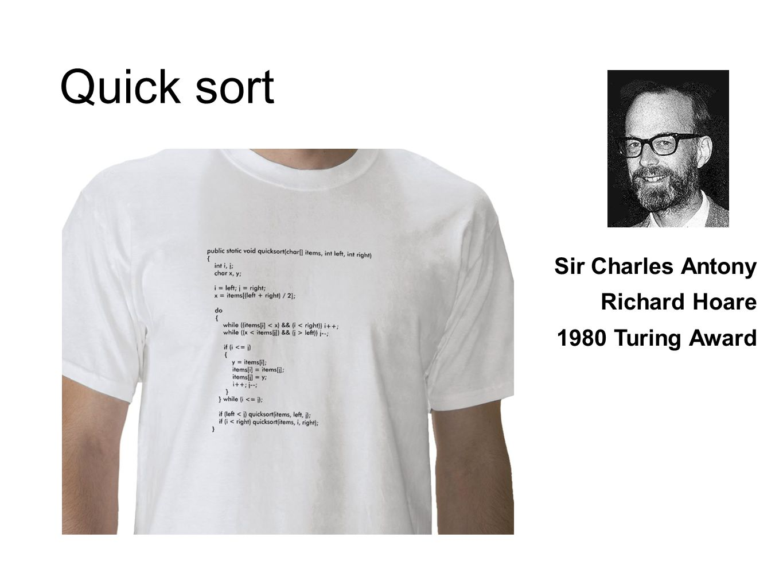 Quick sort Sir Charles Antony Richard Hoare 1980 Turing Award