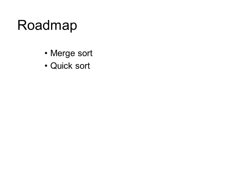 Roadmap Merge sort Quick sort