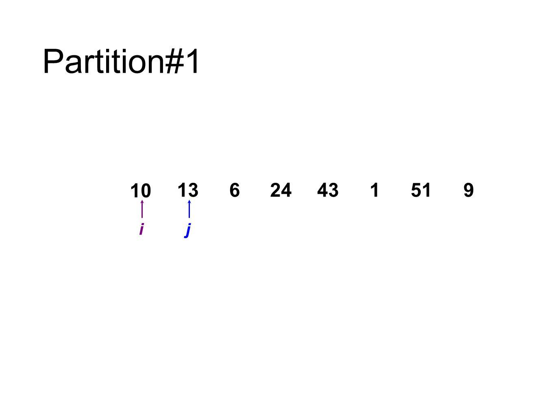 Partition#1 10 13 6 24 43 1 51 9 i j