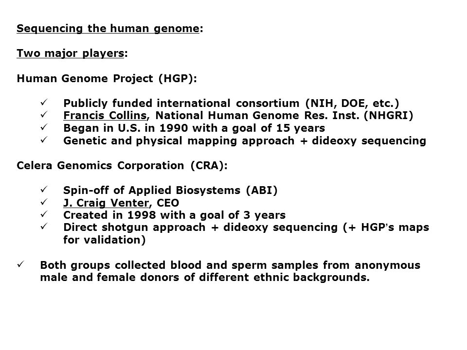 Sequencing the human genome: