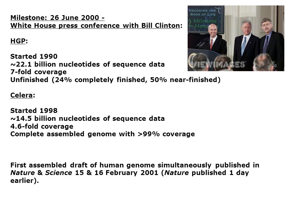 Milestone: 26 June 2000 - White House press conference with Bill Clinton: HGP: Started 1990. ~22.1 billion nucleotides of sequence data.