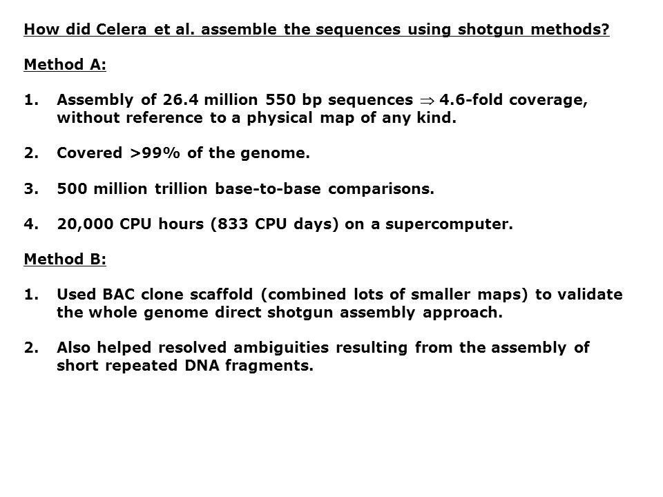 How did Celera et al. assemble the sequences using shotgun methods