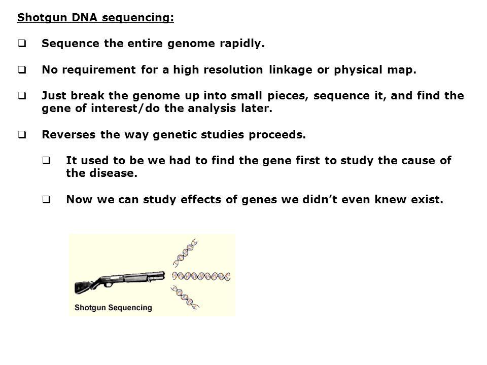 Shotgun DNA sequencing: