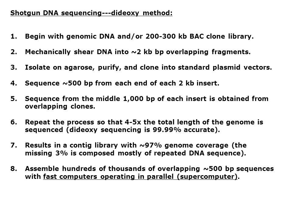 Shotgun DNA sequencing---dideoxy method: