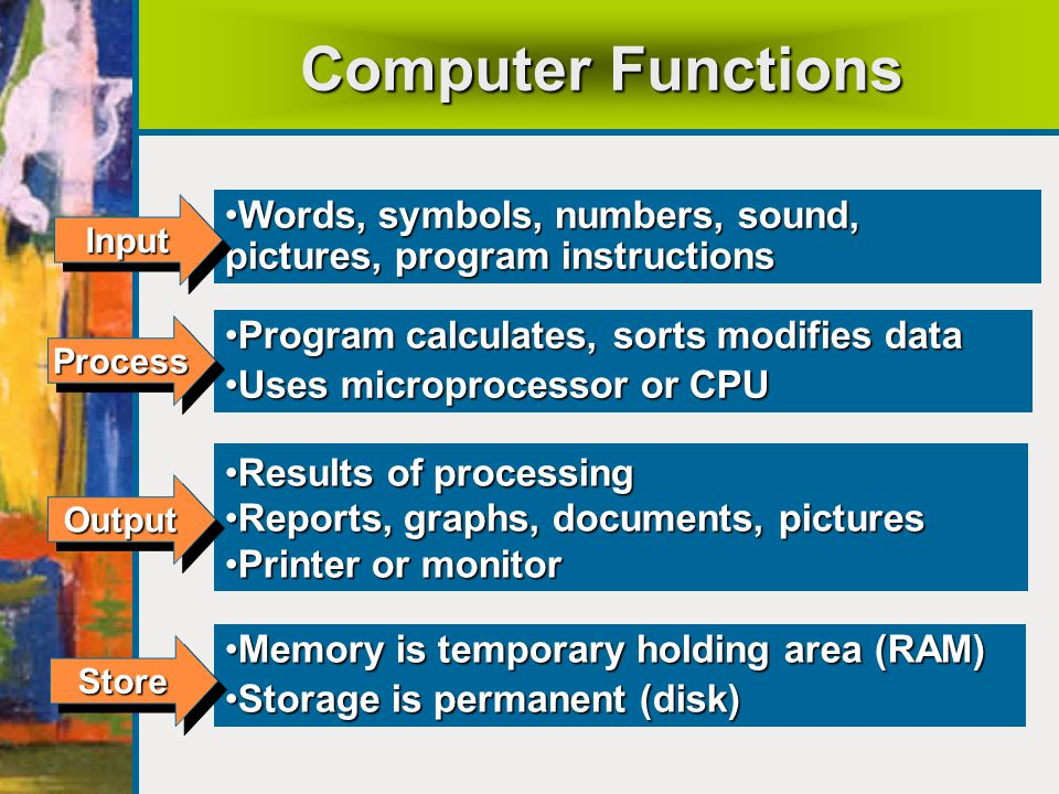 Computer Functions Words, symbols, numbers, sound, pictures, program instructions. Input. Program calculates, sorts modifies data.