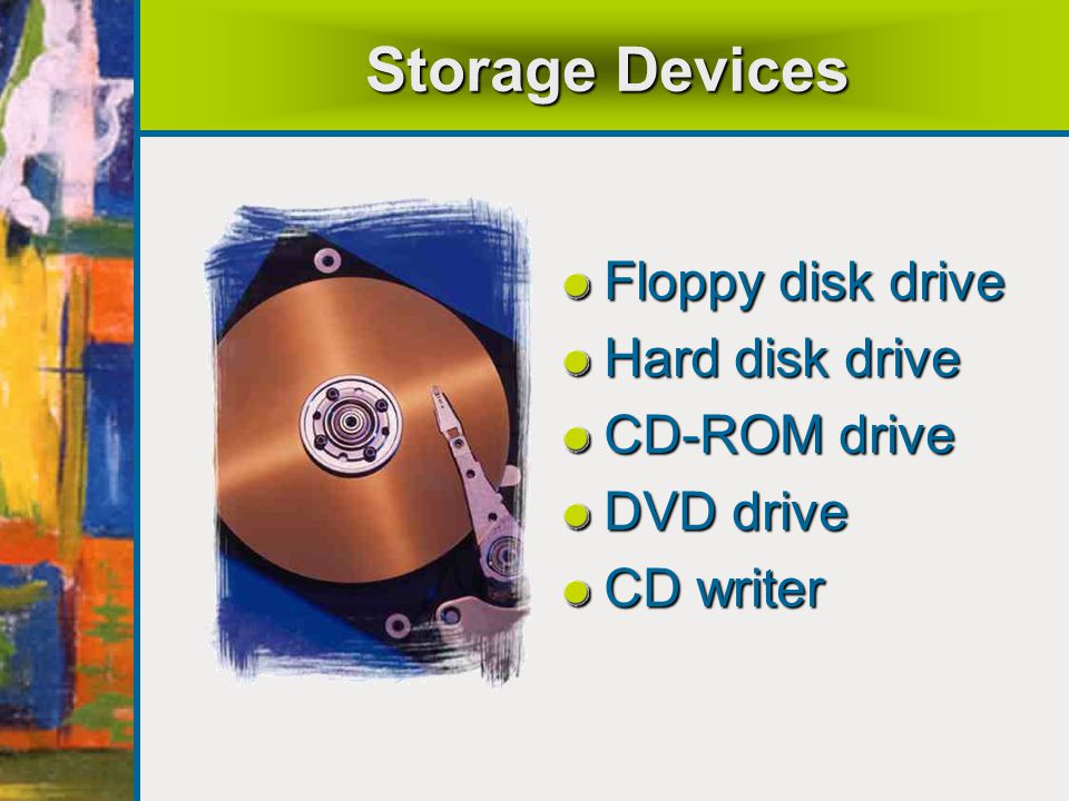 Storage Devices Floppy disk drive Hard disk drive CD-ROM drive