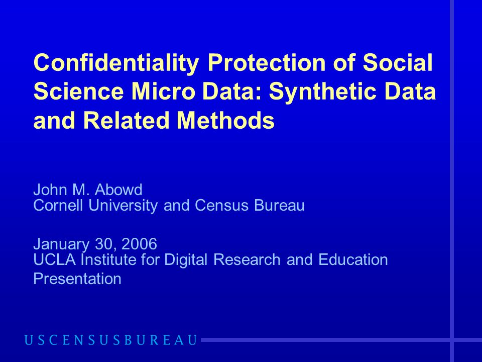 Confidentiality Protection of Social Science Micro Data: Synthetic Data and Related Methods