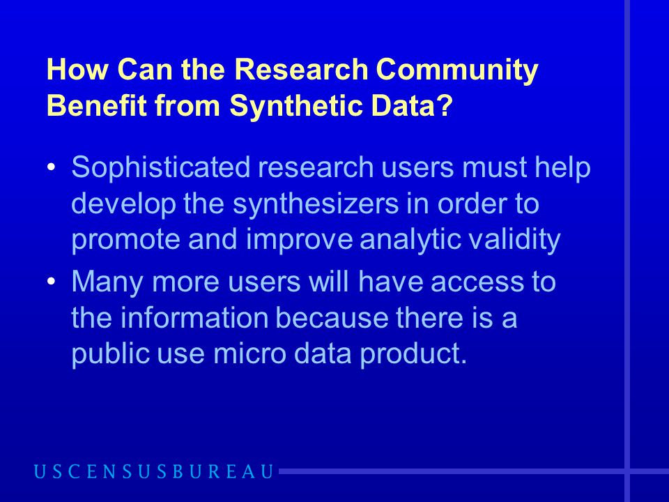 How Can the Research Community Benefit from Synthetic Data