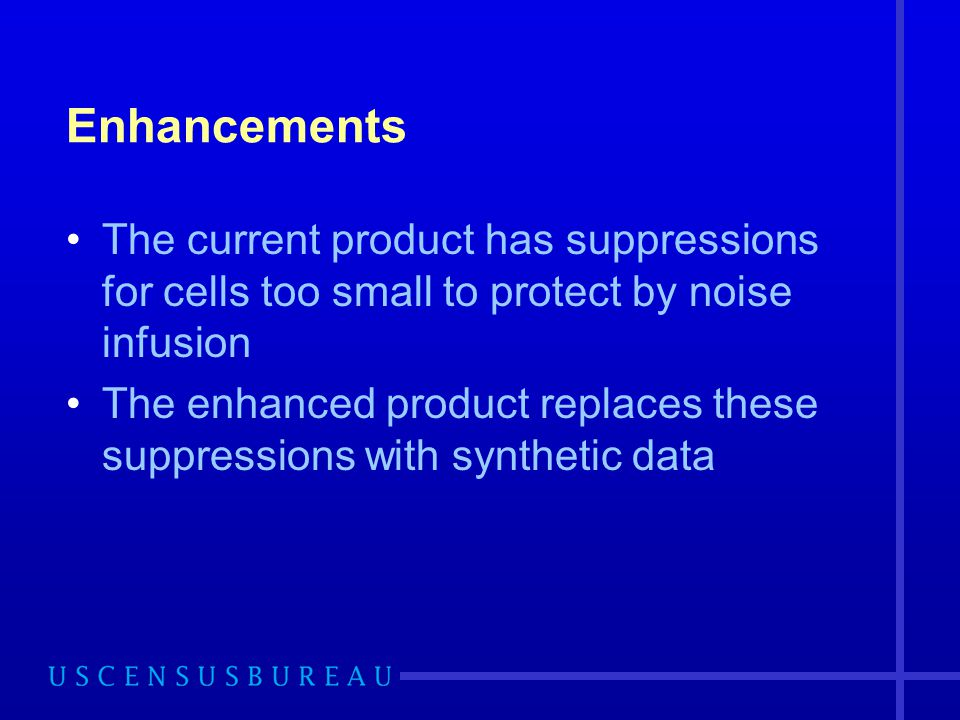 Enhancements The current product has suppressions for cells too small to protect by noise infusion.