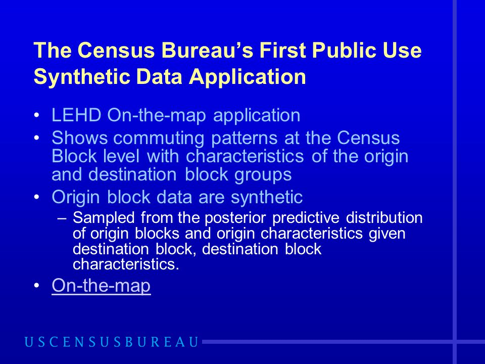 The Census Bureau's First Public Use Synthetic Data Application