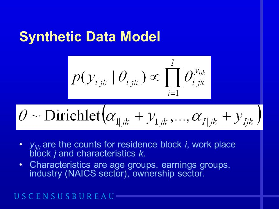 Synthetic Data Model yijk are the counts for residence block i, work place block j and characteristics k.