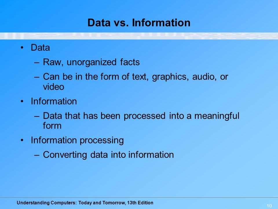 Data vs. Information Data Raw, unorganized facts