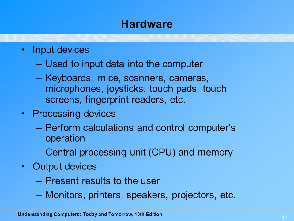 Hardware Input devices Used to input data into the computer