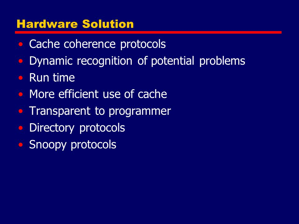 Hardware Solution Cache coherence protocols. Dynamic recognition of potential problems. Run time.