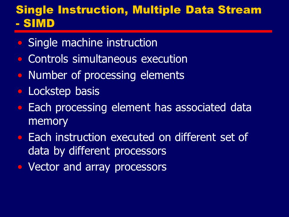 Single Instruction, Multiple Data Stream - SIMD
